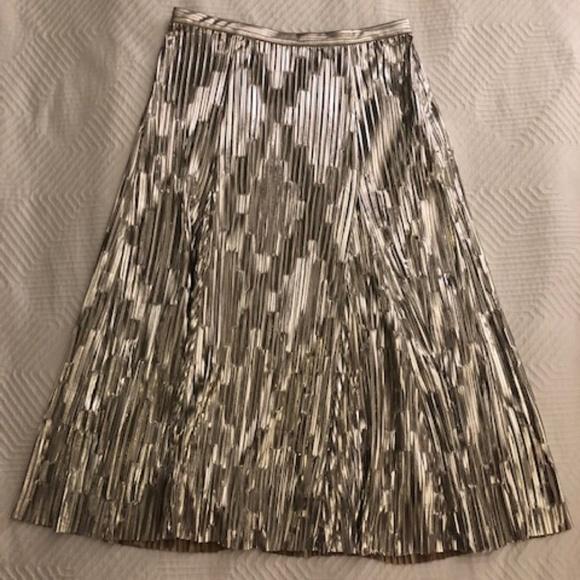 Anthropologie Dresses & Skirts - Anthropology Maeve Midi Silver Skirt